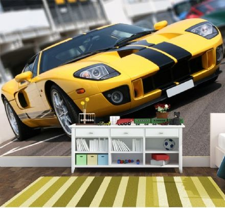 Yellow super car paper wall mural